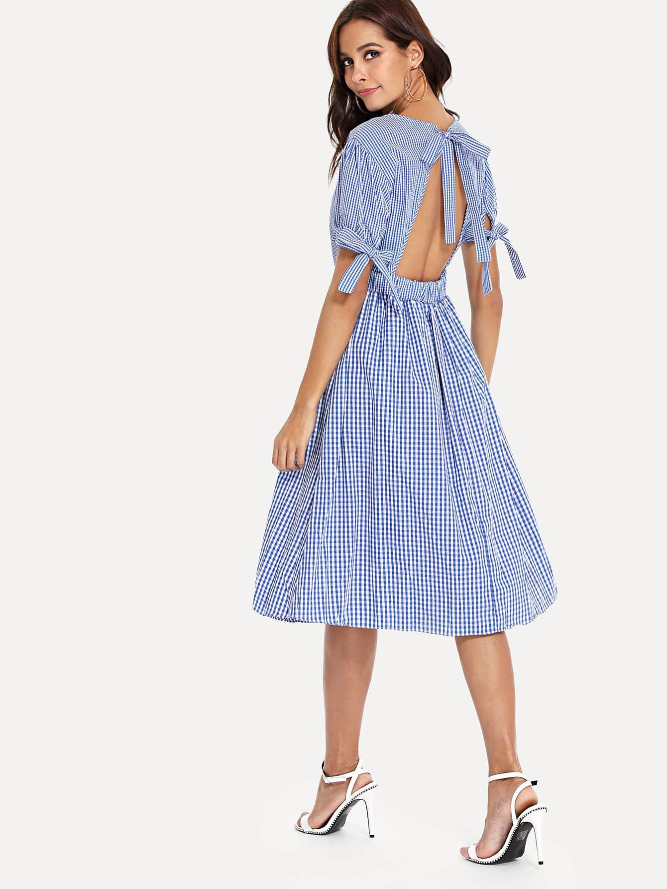Bow Tie Detail Backless Plaid Dress bow detail longline dress