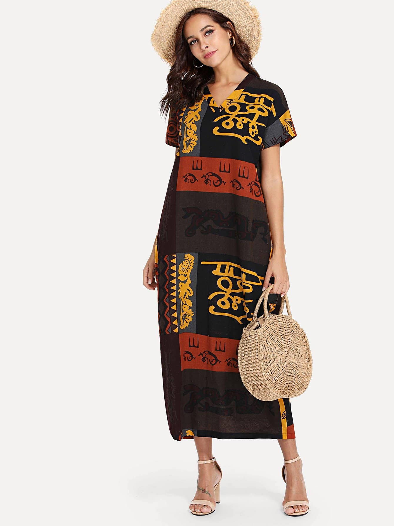 Hieroglyphic Print Longline Dress landscape print longline dress