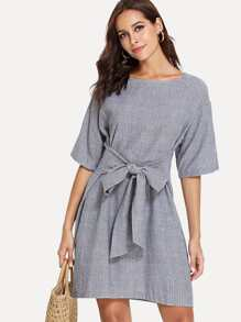 Bow Tie Waist Stripe Dress