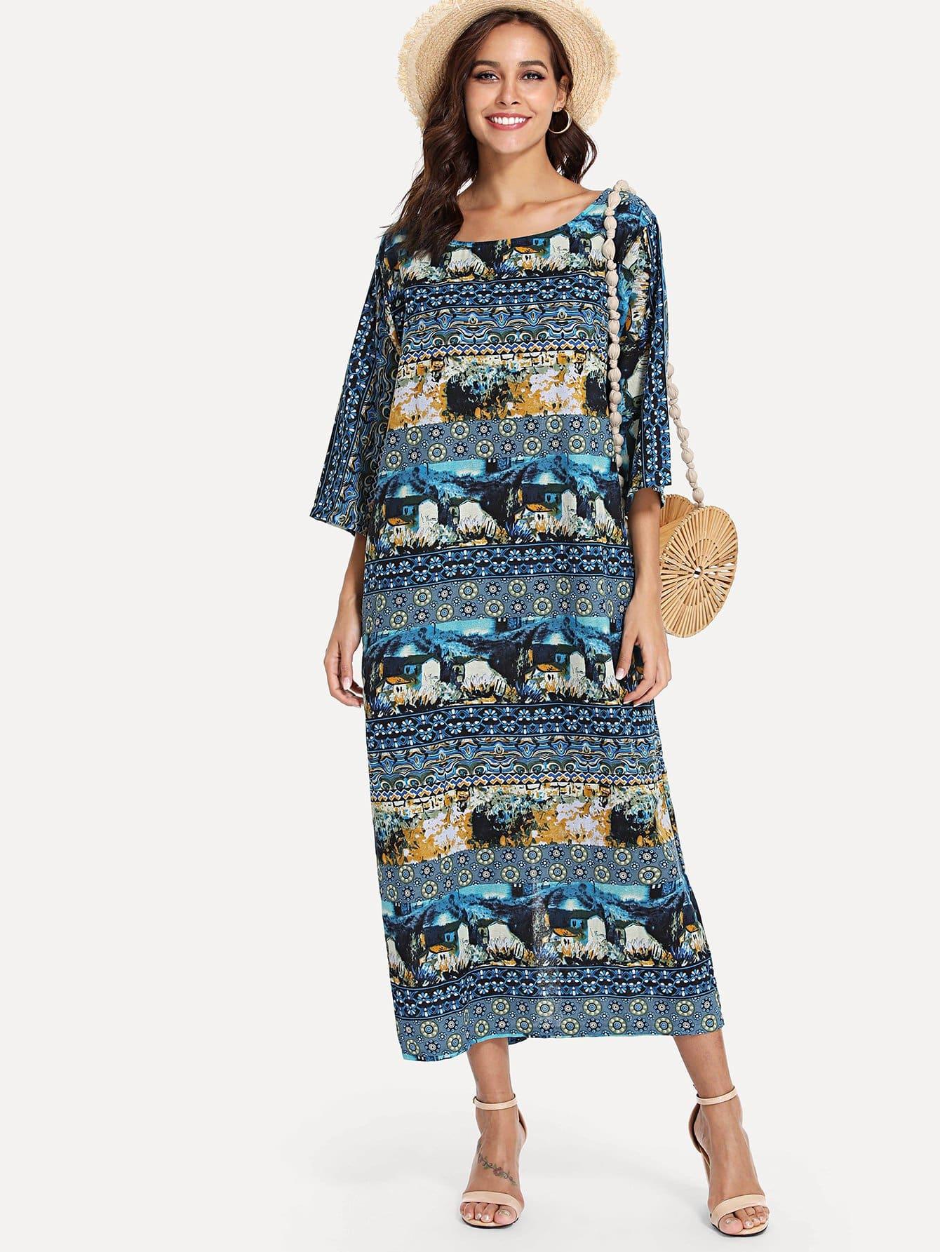 Landscape Print Longline Dress tribal print longline dress