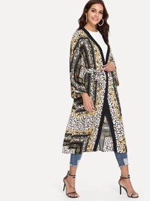 Leopard Print Tie Waist Kimono