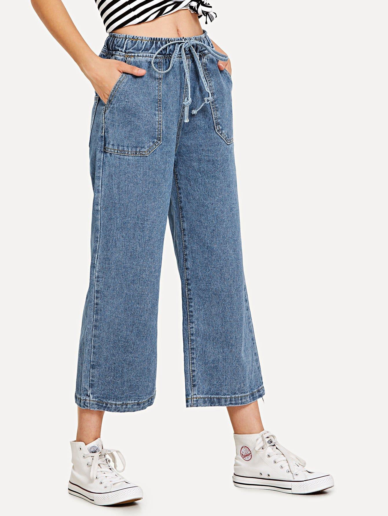 Drawstring Waist Wide Leg Jeans drawstring waist tapered leg jogger