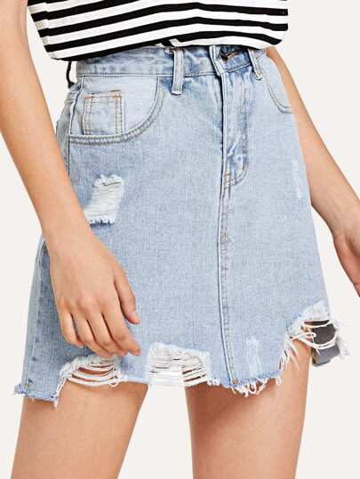 Extreme Distressing Denim Skirt
