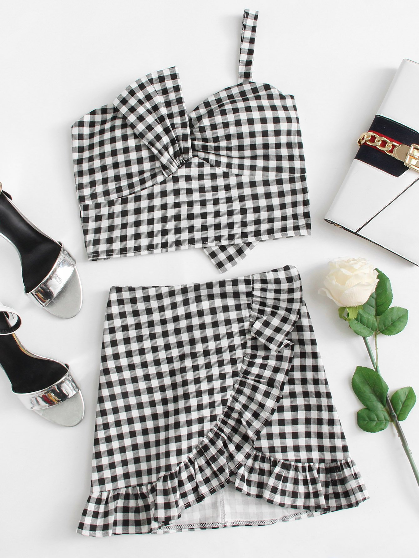 Gingham One Shoulder Top & Ruffle Hem Skirt gingham one shoulder top