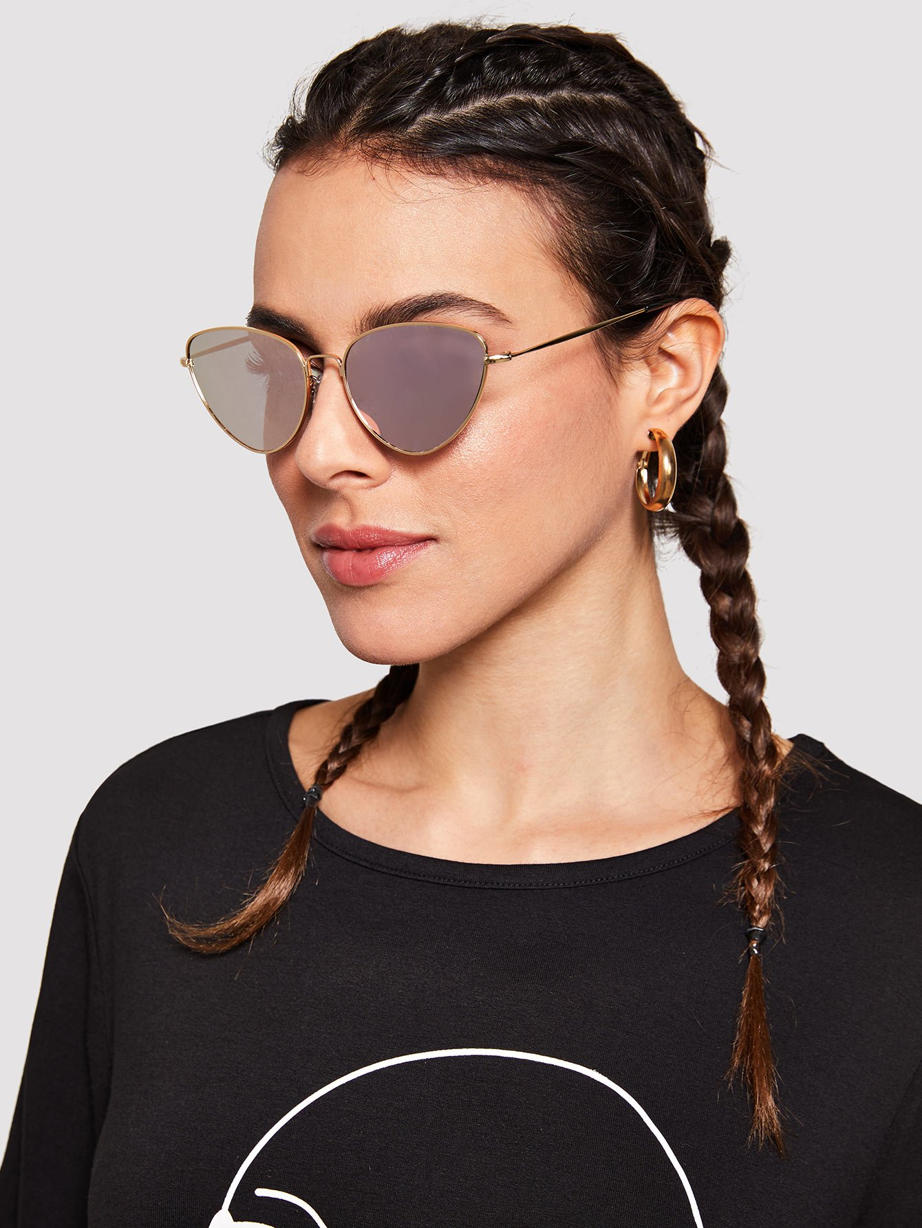 Купить Солнцезащитные очки кошки с металлической оправой, null, SheIn