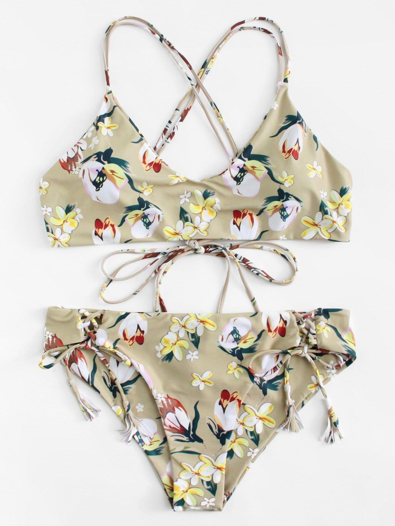 цена на Plus Flower Print Self Tie Bikini Set
