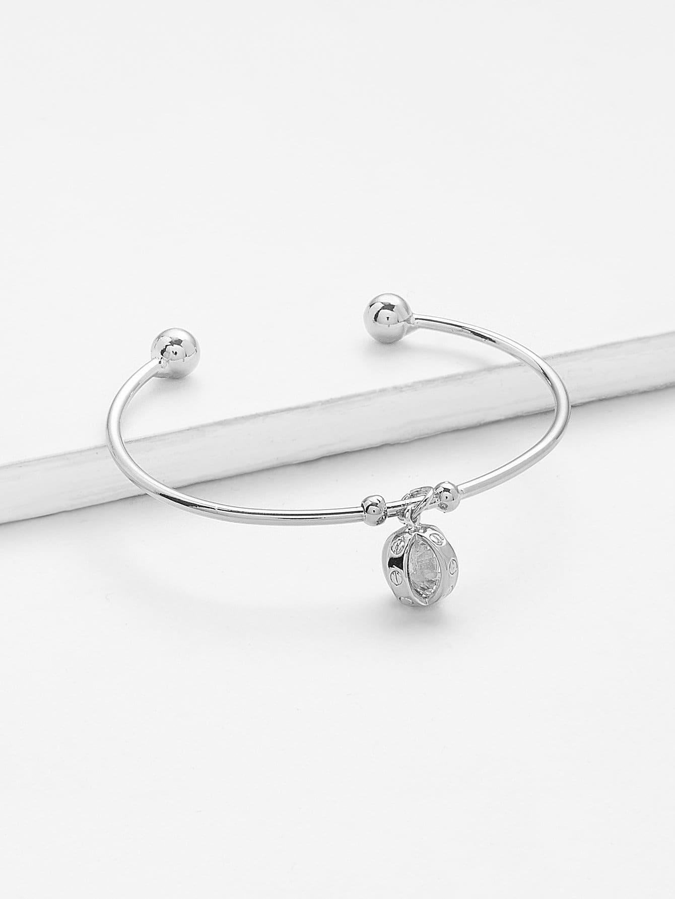Charm Detail Cuff Bangle beaded detail heart charm bangle
