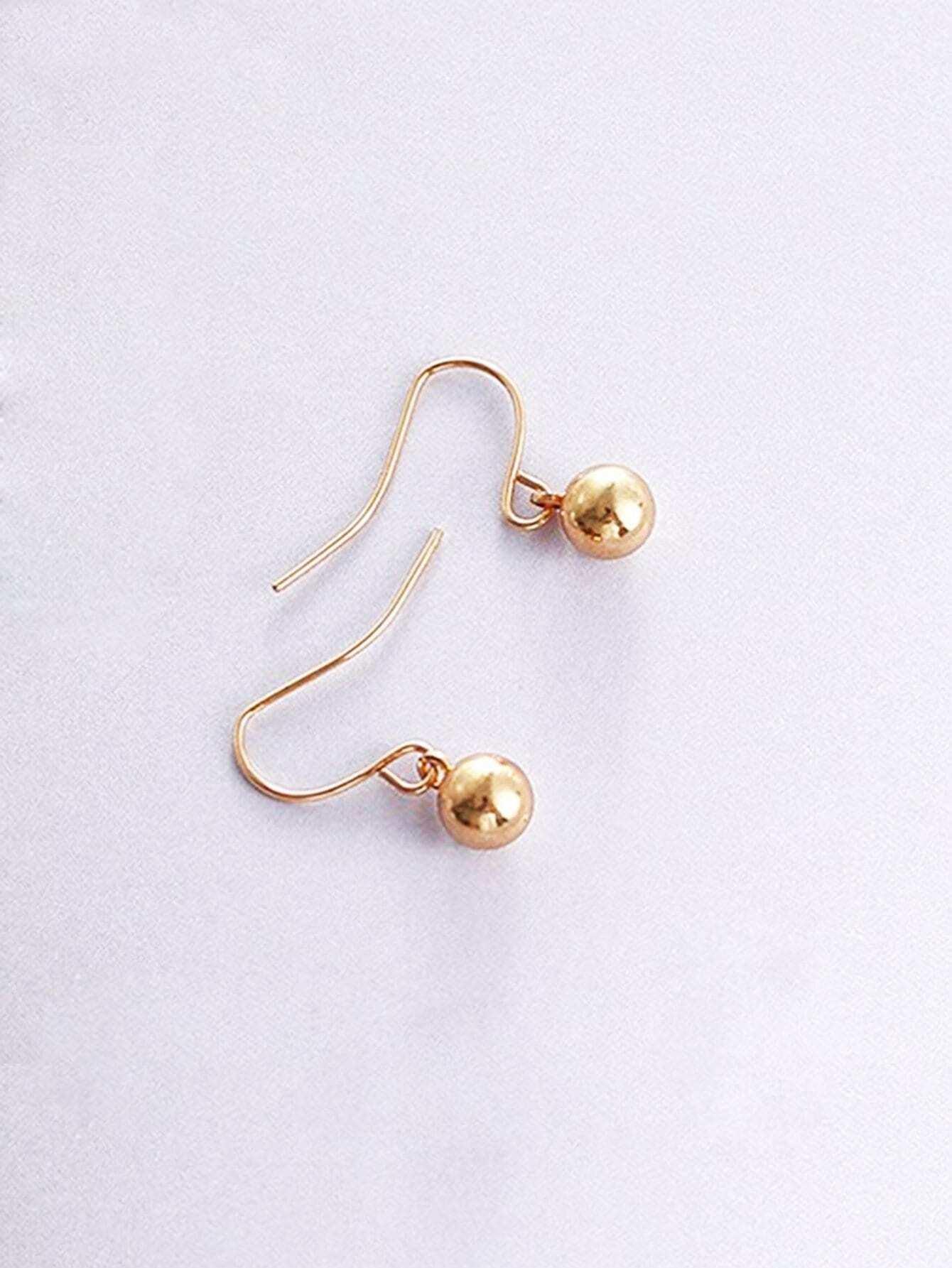 Ball Detail Hook Earrings rhinestone ball hook long chain earrings
