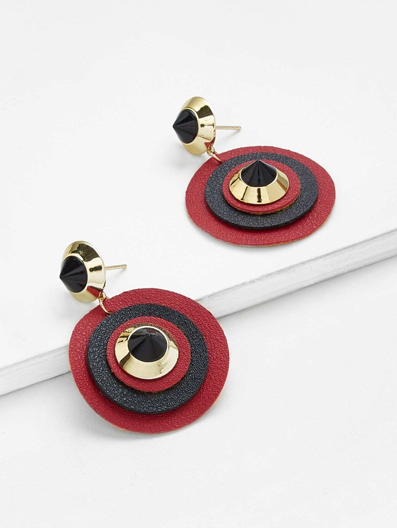Color Block Round Drop Earrings two tone round drop earrings