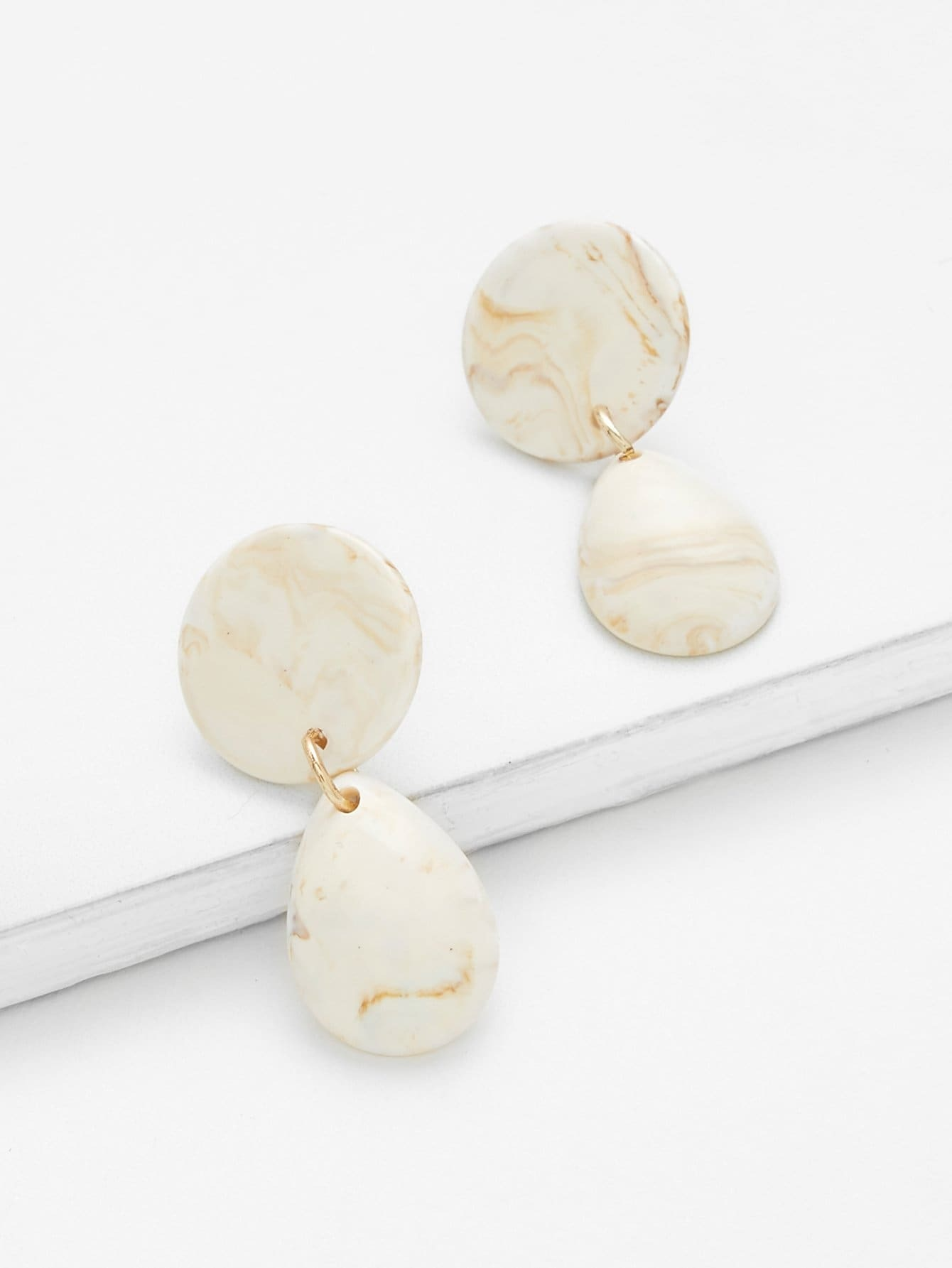 Marble Pattern Waterdrop Earrings 2 0 lcd digital personal body weight scale 150kg 100g 2 x aaa