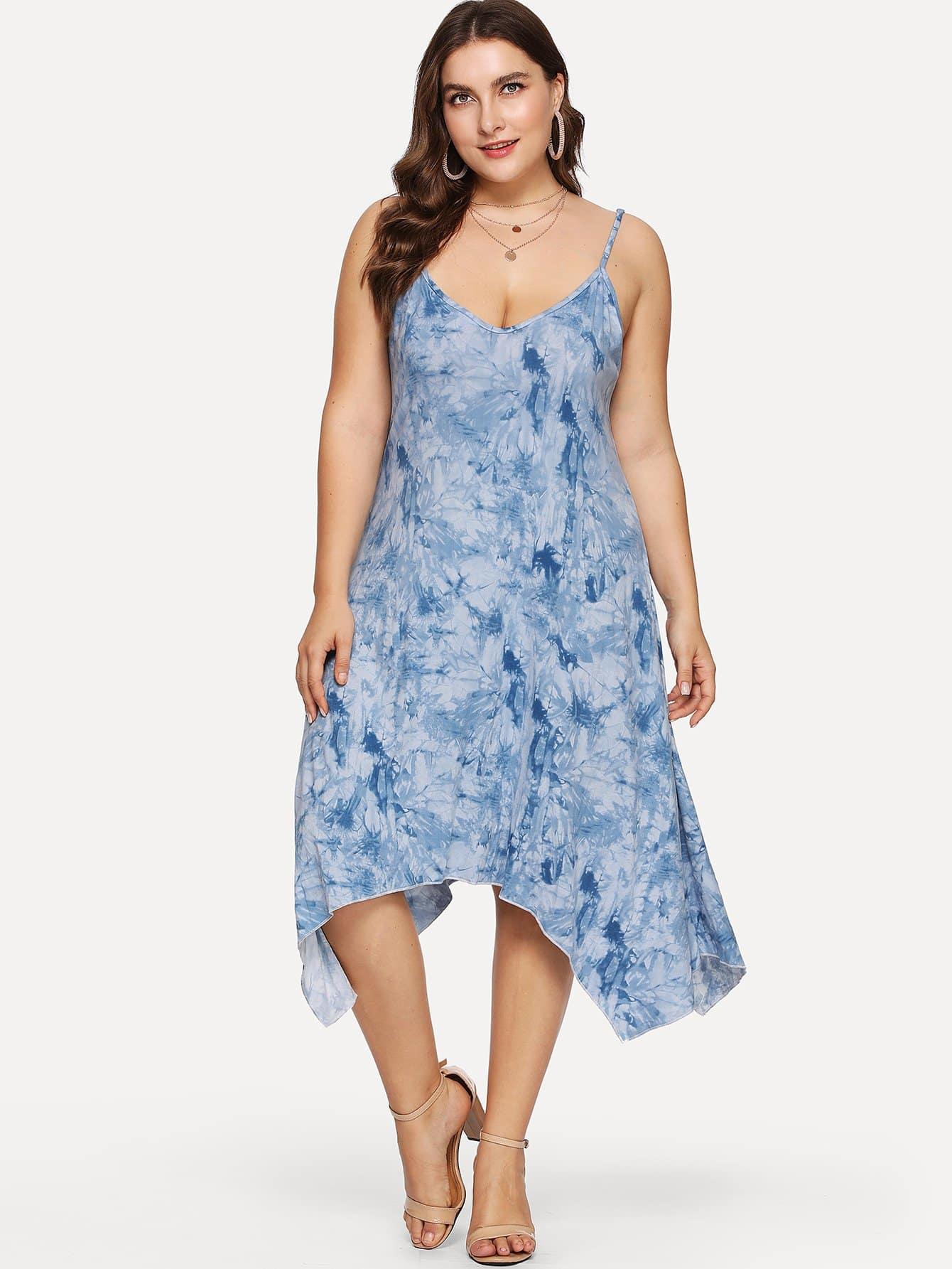 Plus Tie Dye Asymmetrical Hem Cami Dress rg512 g50641 203