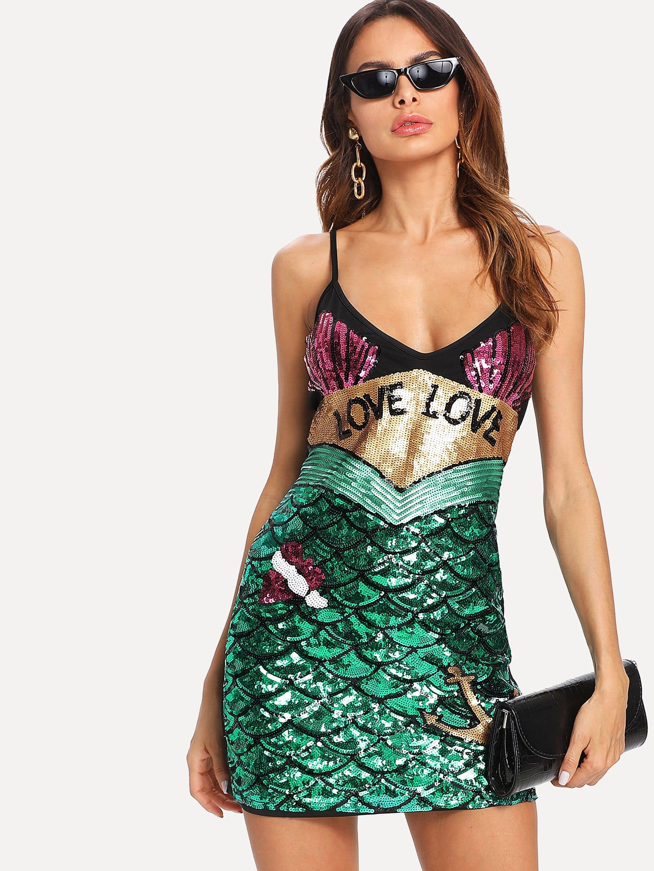 Sequin Color Block Cami Dress striped print color block cami dress
