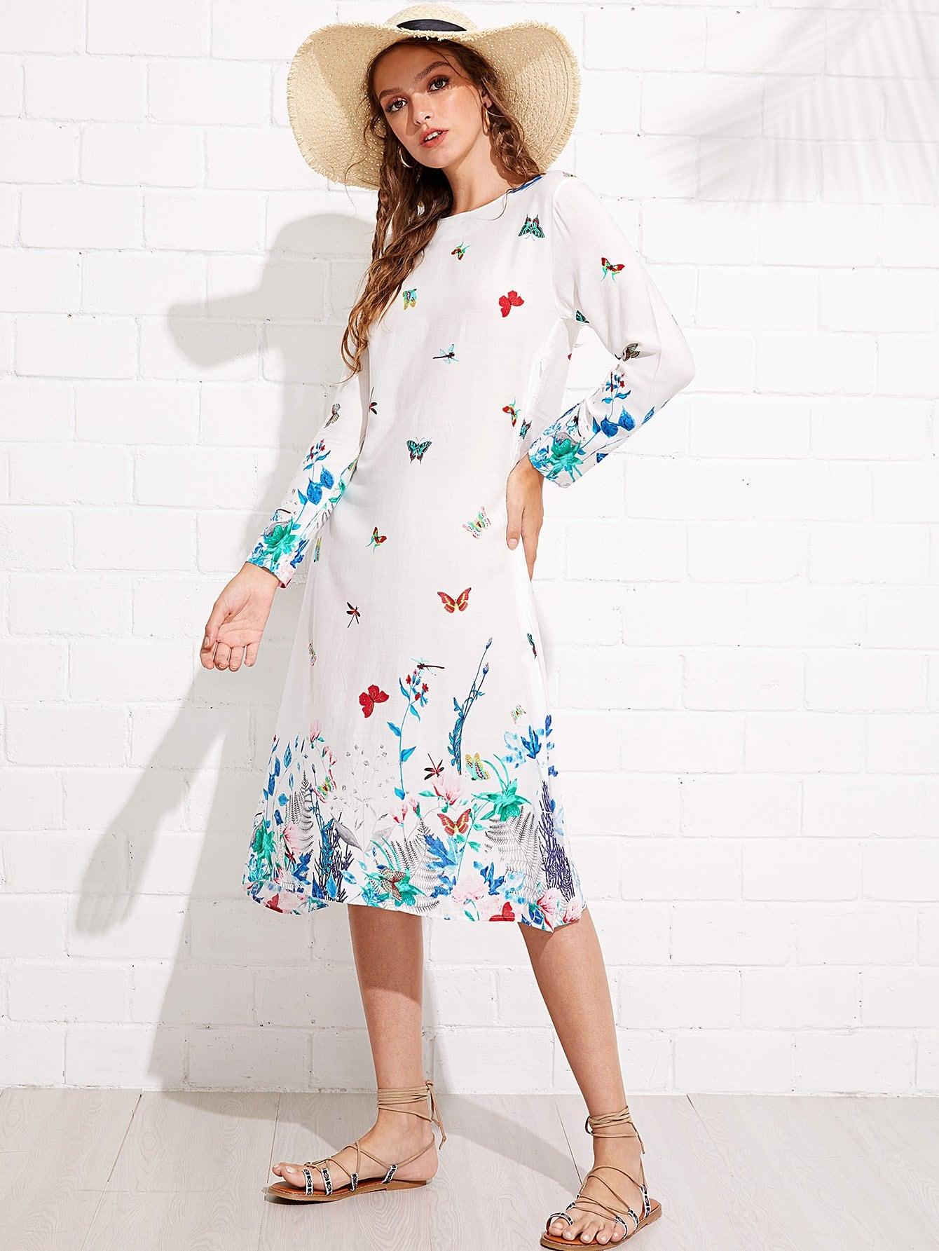 Graphic Print Zip Up Side Dress zip up side plaid dress