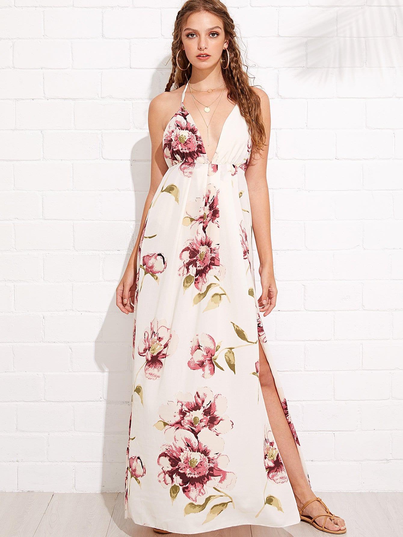 Floral Print Split Hem Backless Halter Dress