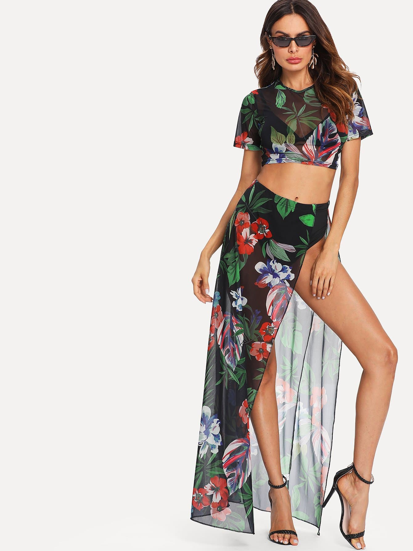 Floral Print Sheer Mesh Crop Top With Skirt star sequin sheer mesh top