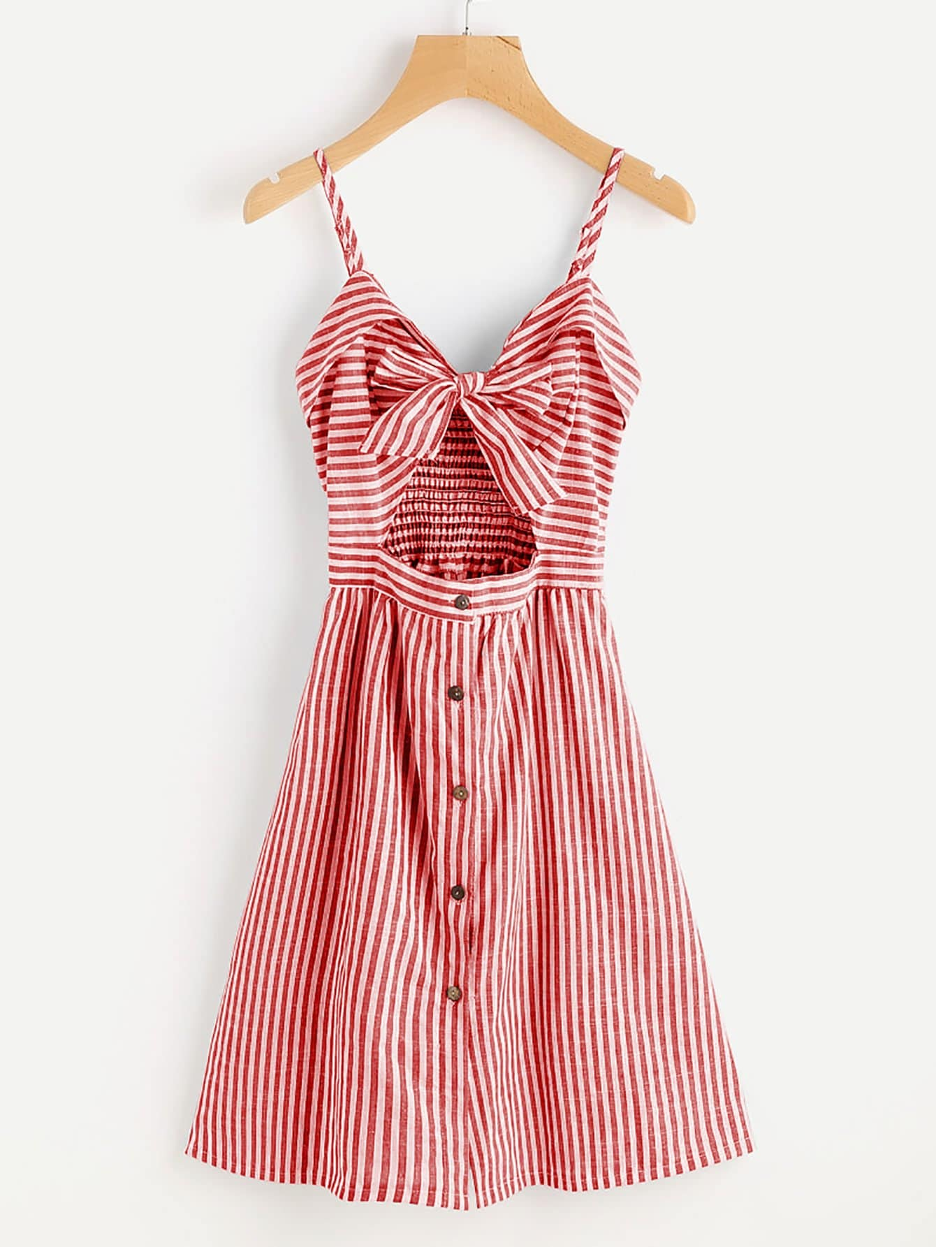 Cut Out Bow Front Striped Cami Dress