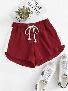 Contrast Panel Drawstring Shorts