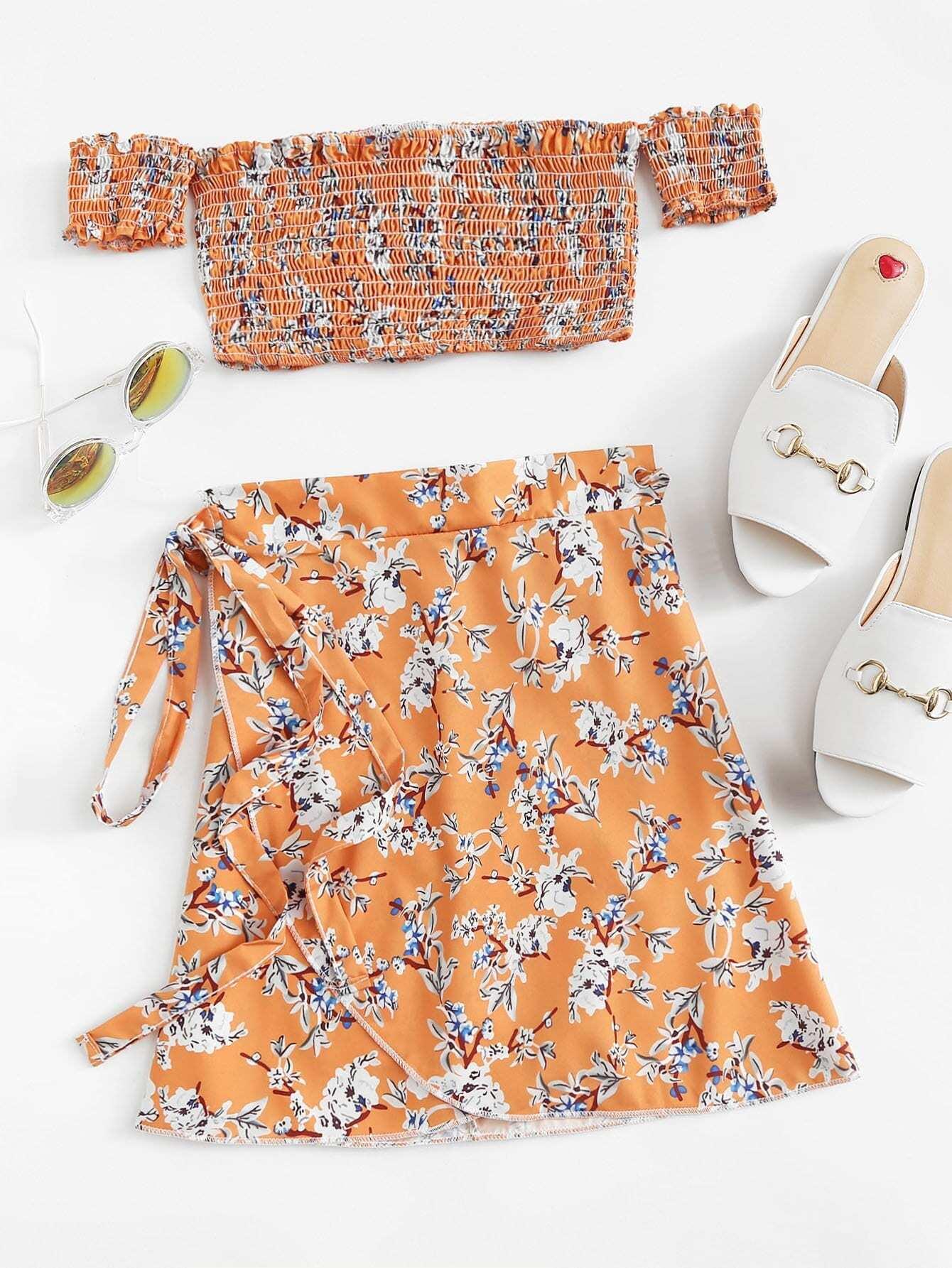 Купить Повседневный стиль Со цветочками Складки Оранжевый Комплект, null, SheIn