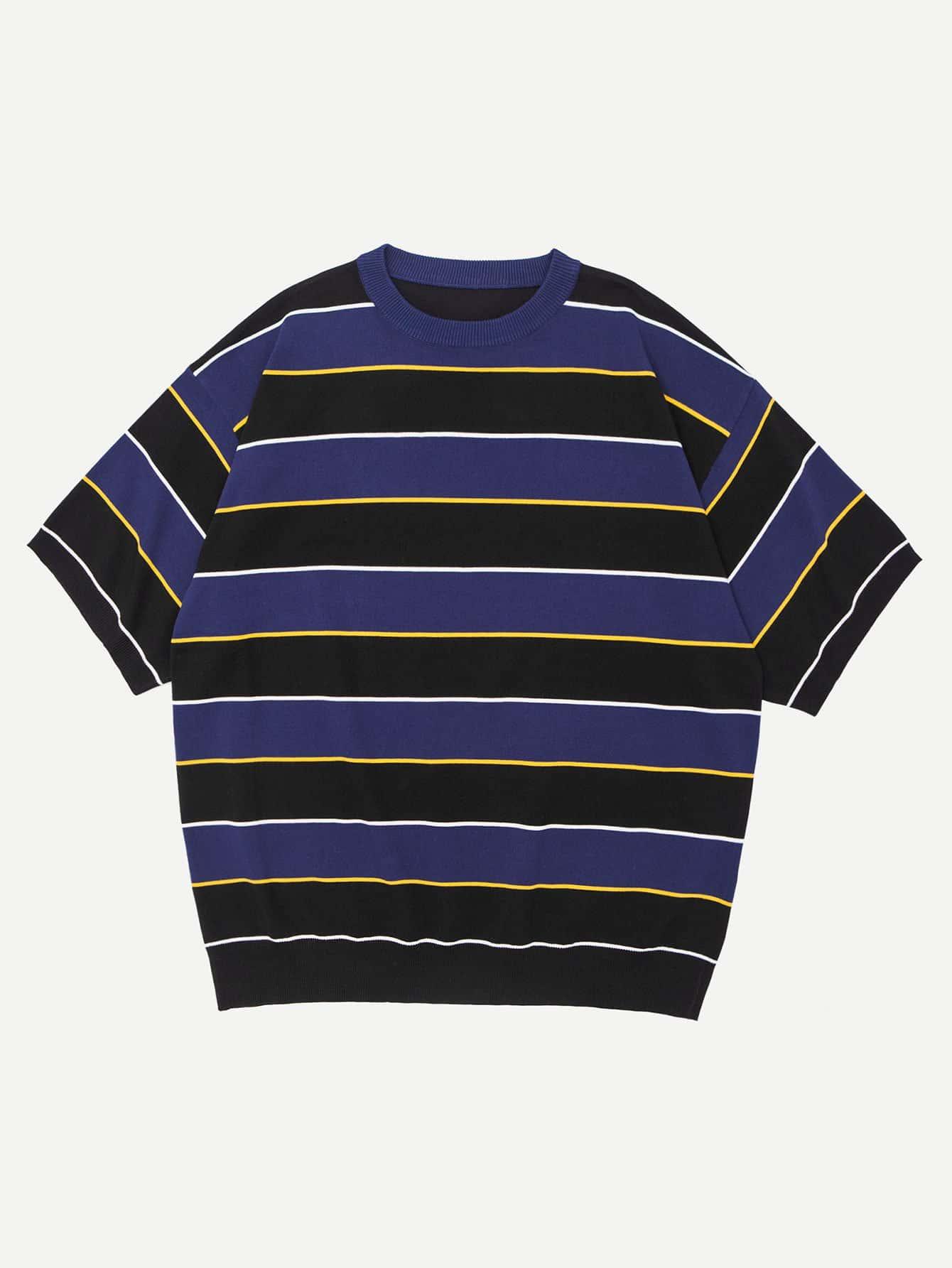 Men Striped Crop Tee striped mesh sweetheart crop tee
