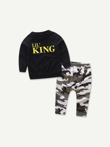 Letter Print Pullover With Camo Pants ROMWE