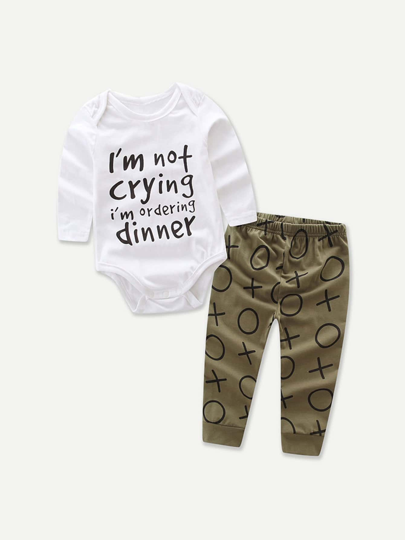 Boys Letter Print Romper With Pants