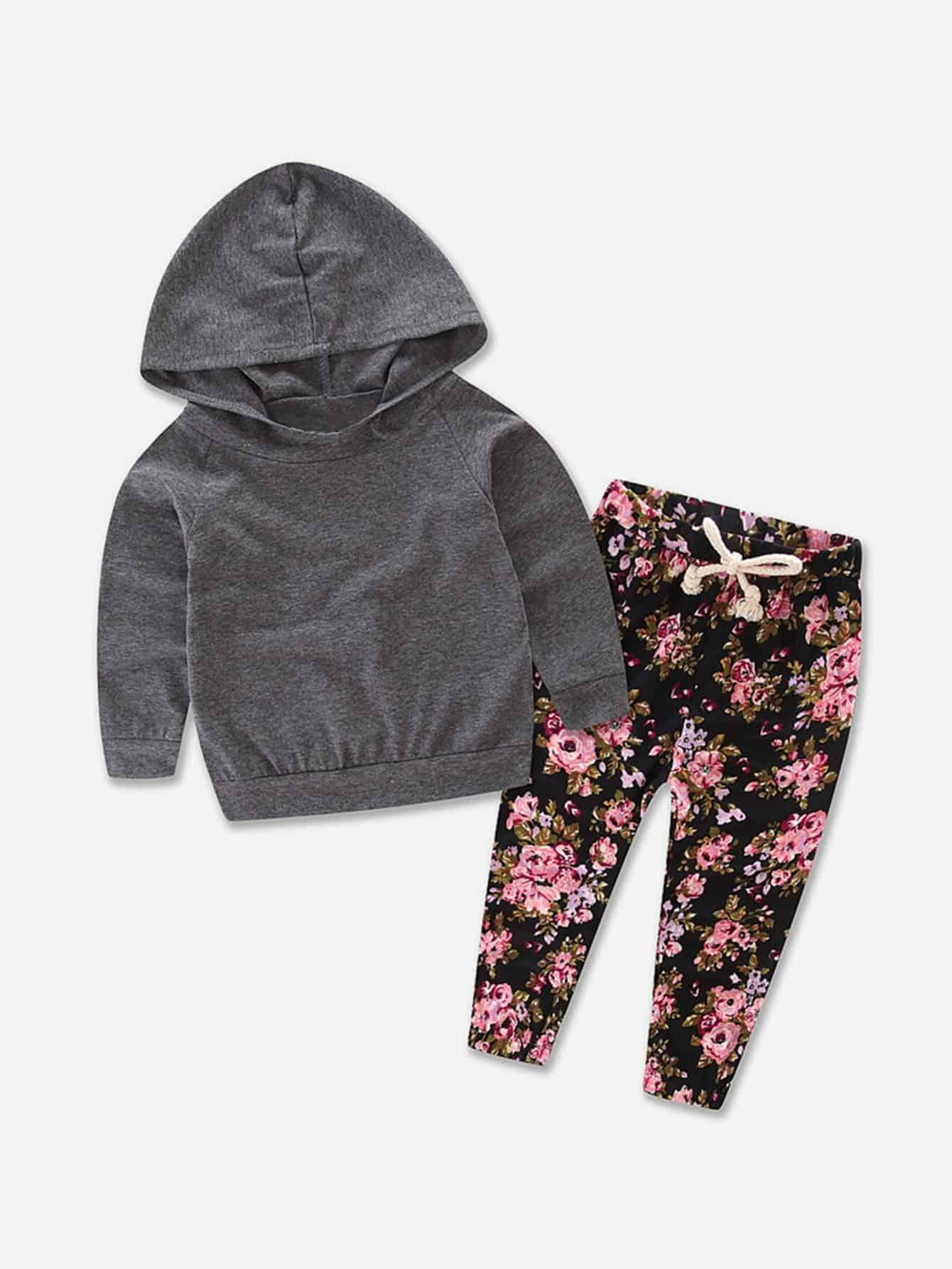 на кулиске Серый Комплекты одежды для девочек из 2 вещей от SheIn