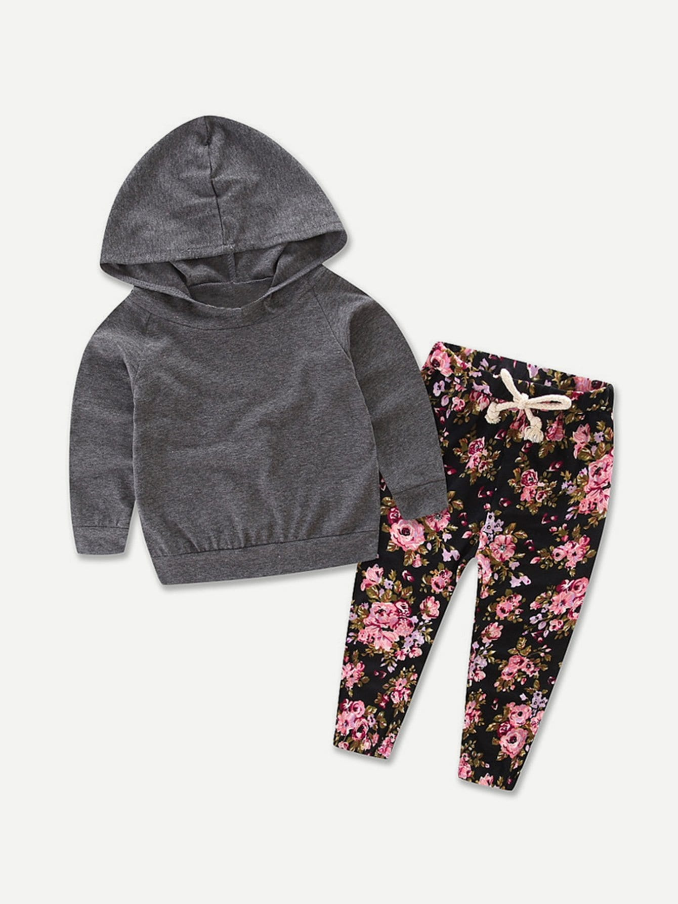 Hooded Sweatshirt With Drawstring Calico Print Pants alien print drop shoulder hooded drawstring sweatshirt