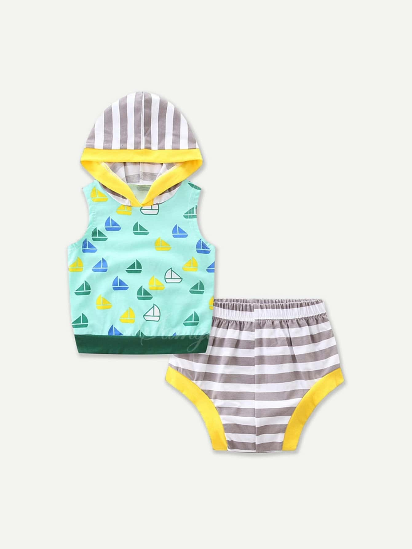 Boat Print Hoodie With Striped Shorts boat neckline striped blouse with buttons