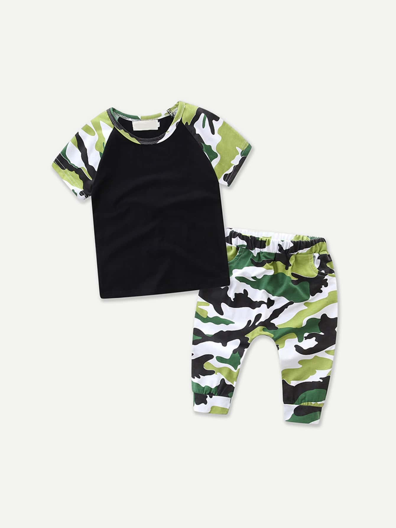 Boys Camo Tee With Pants
