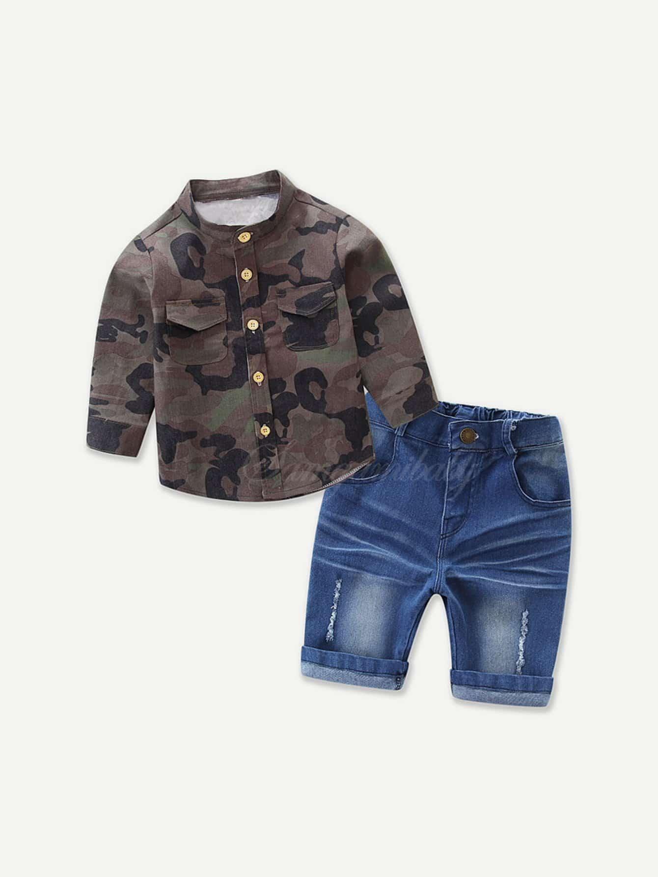 Boys Camo Shirt With Denim Shorts boys roll up sleeve plaid shirt with shorts