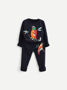 Bird Print Pullover With Pants ROMWE