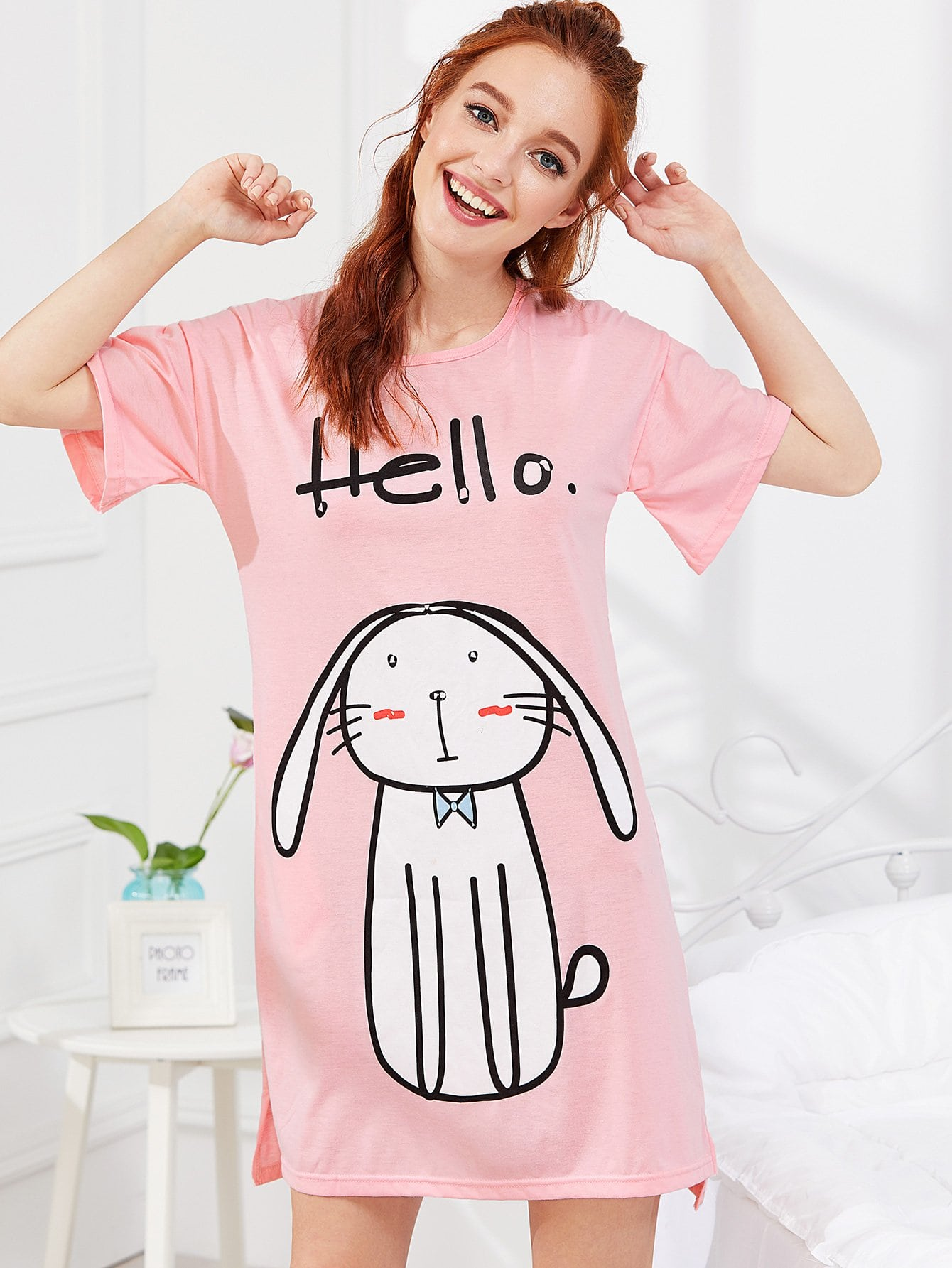 Фото Cartoon Print Night Dress cartoon print grid night dress