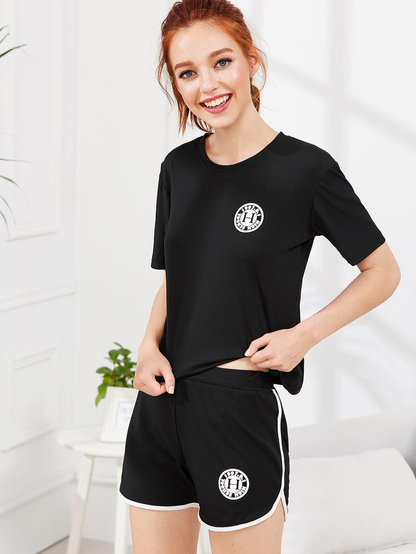 Купить Комплект пижамы топ с надписью и шорты, Poly, SheIn