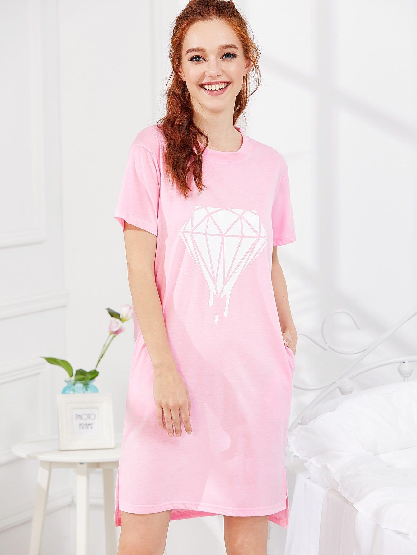 Diamond Print Night Dress camo print night dress