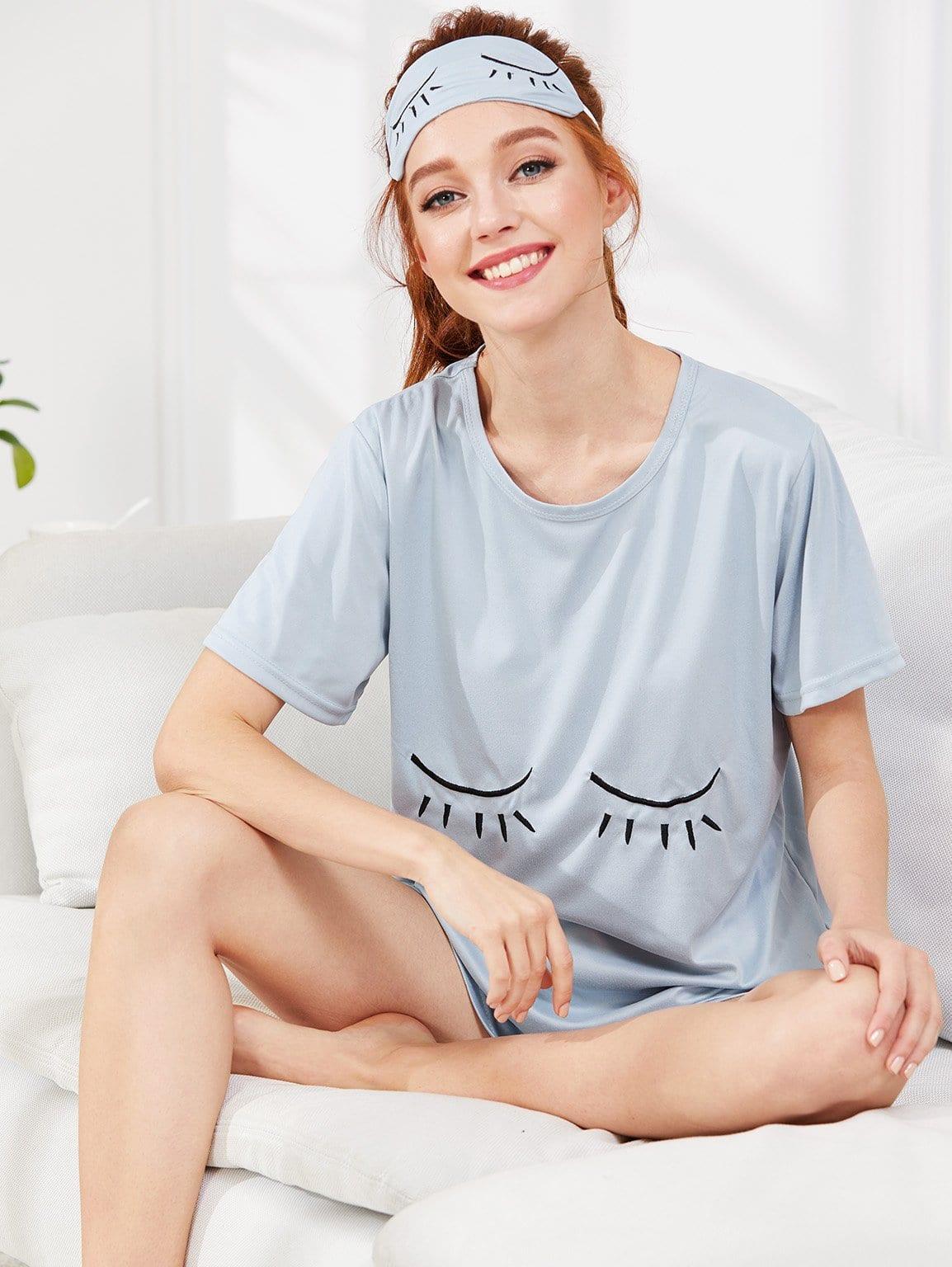 Купить Комплект пижамы топ и шорты с маской на глаза, Poly, SheIn
