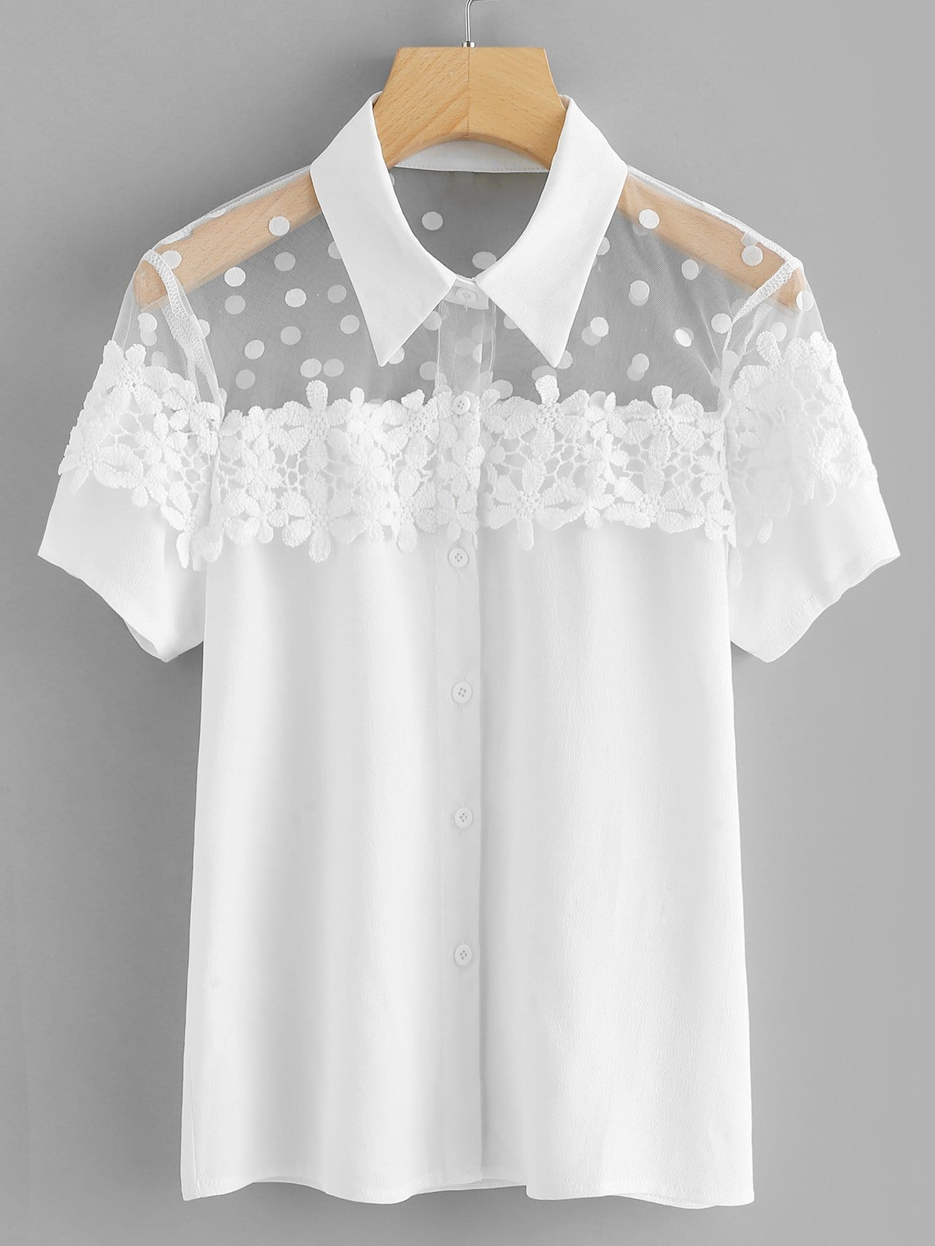 Dot Mesh Insert Crochet Trim Shirt frill detail crochet insert embroidered mesh top