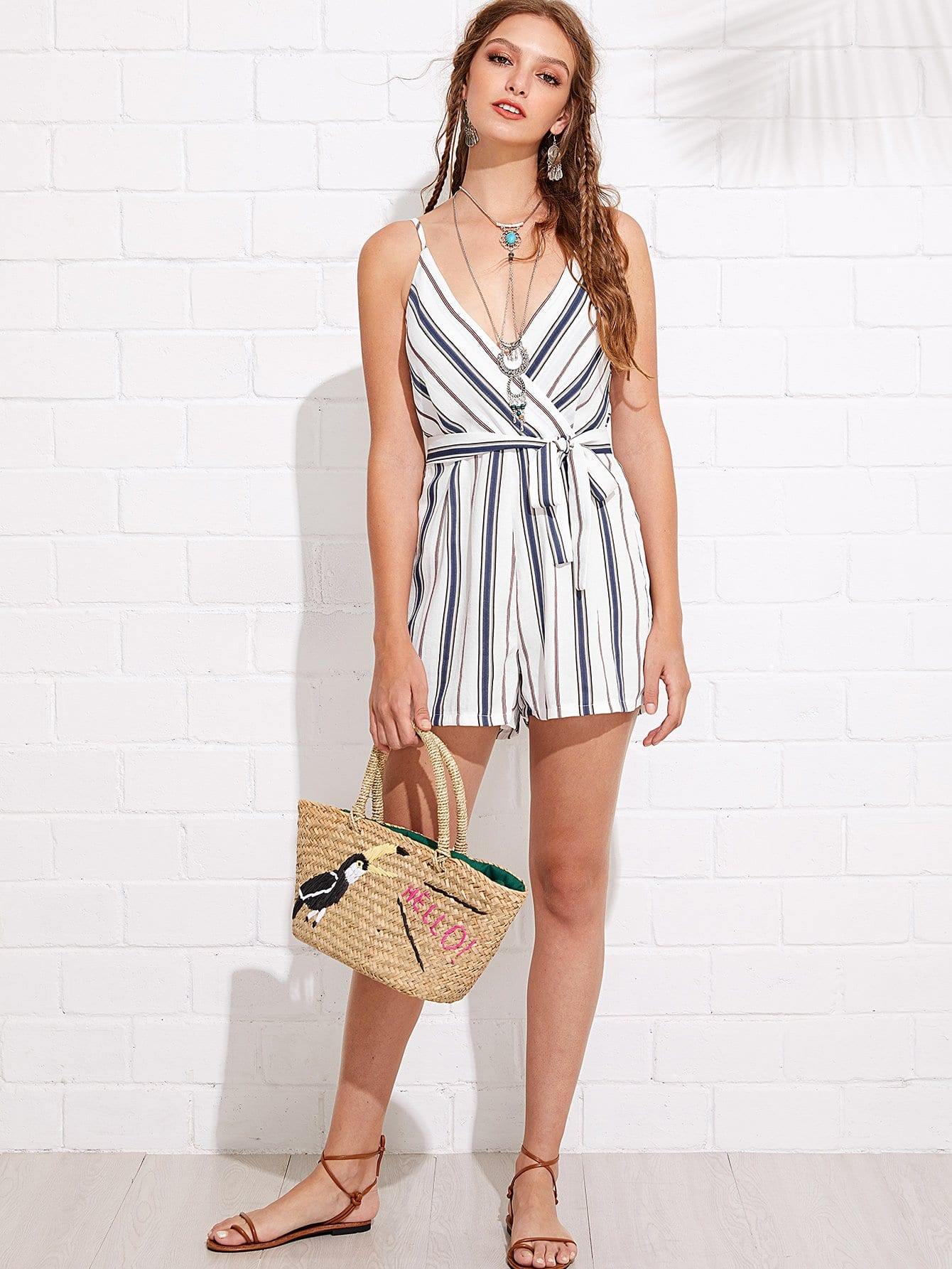 Vertical-Striped Belted Surplice Romper