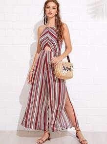 Split Side Backless Striped Jumpsuit