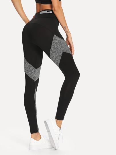 Contrast Panel Zip Detail Leggings
