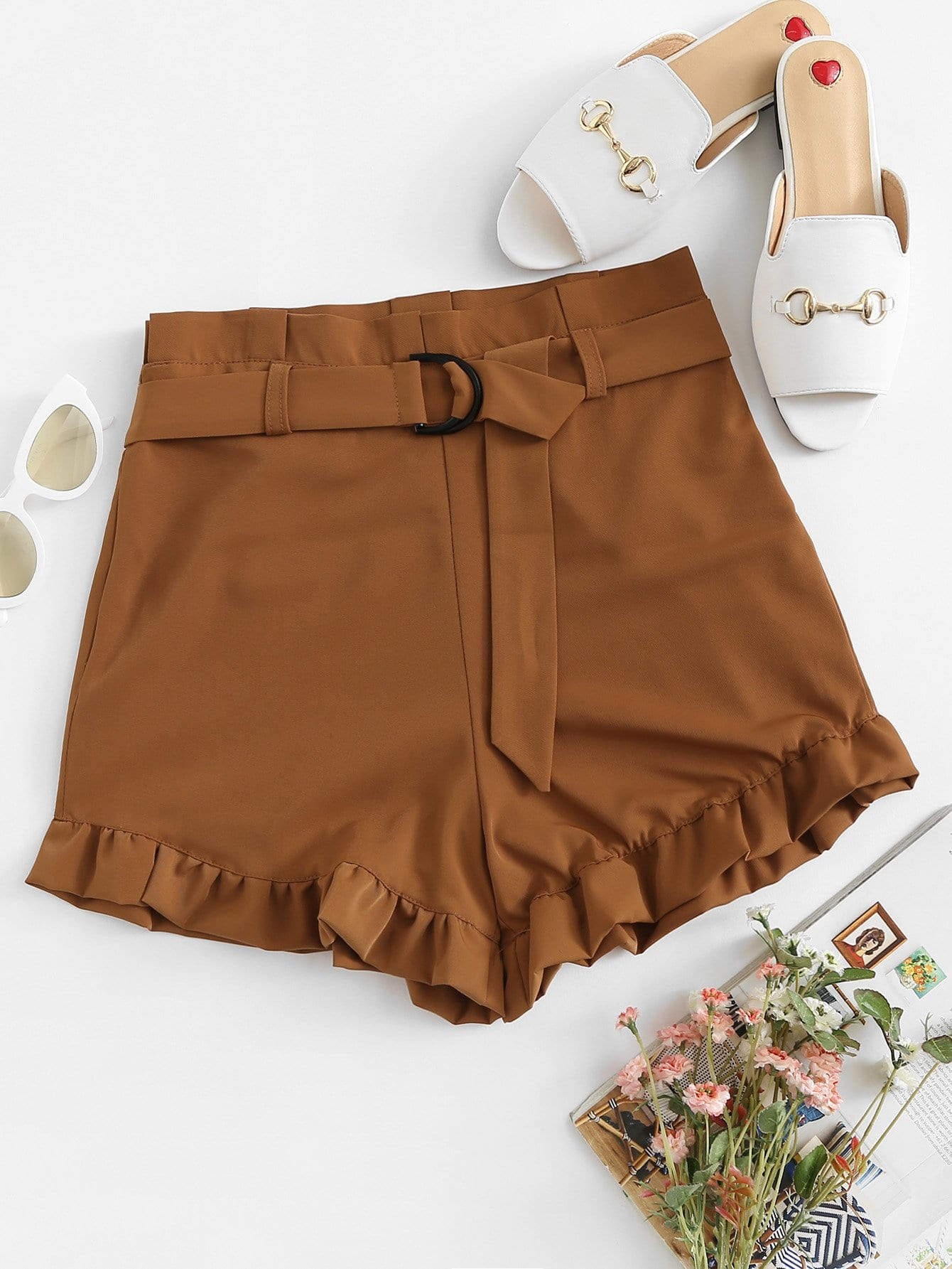 Ruffle Hem Belted Shorts ruffle hem solid shorts