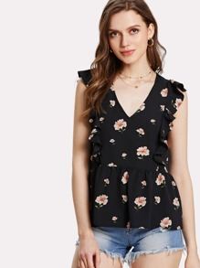 Ruffle Armhole Floral Smock Top