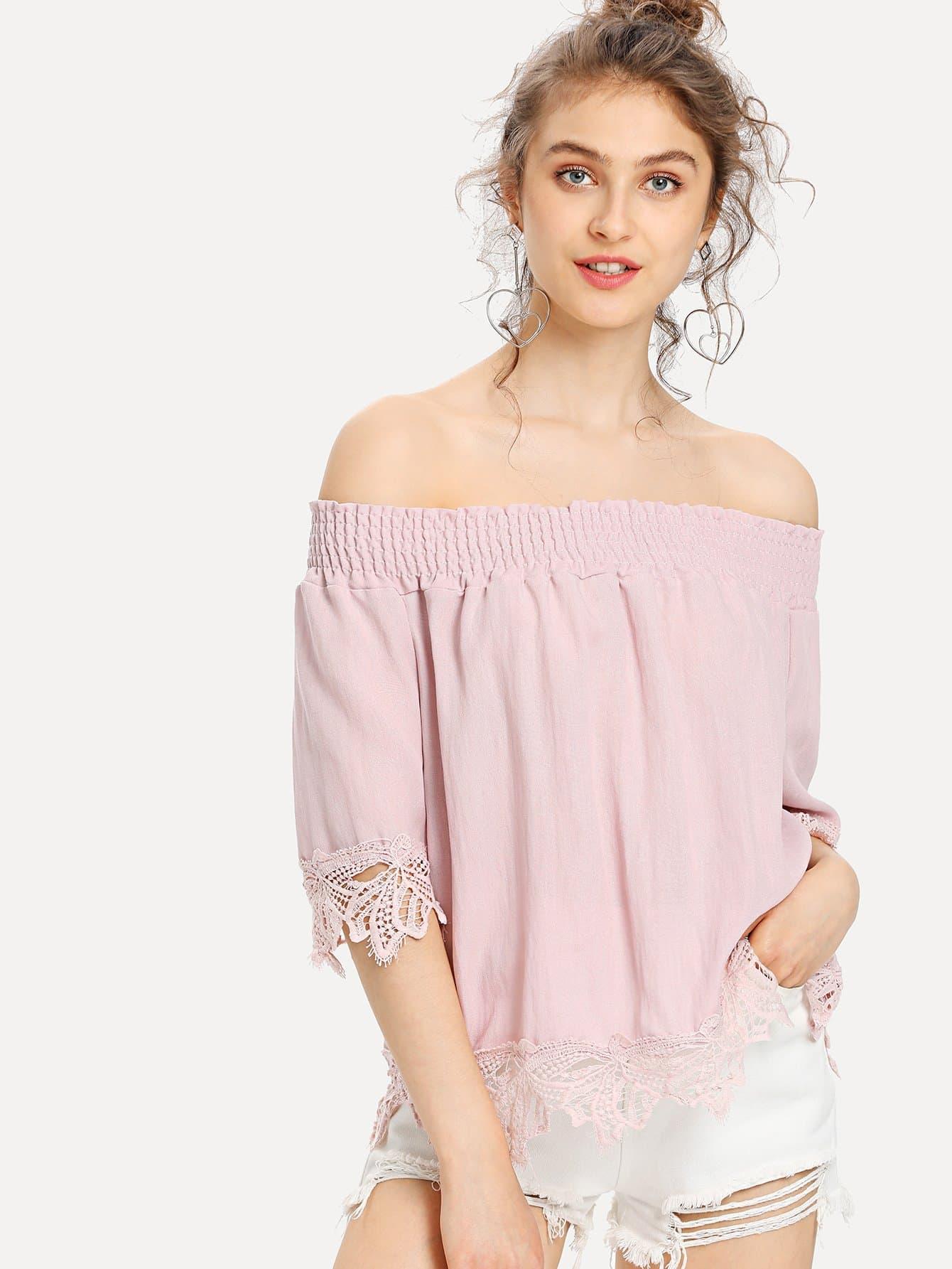 Shirred Cold Shoulder Lace Hem Top lace yoke cold shoulder top