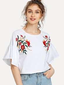 Drop Shoulder Symmetrical Embroidery Blouse