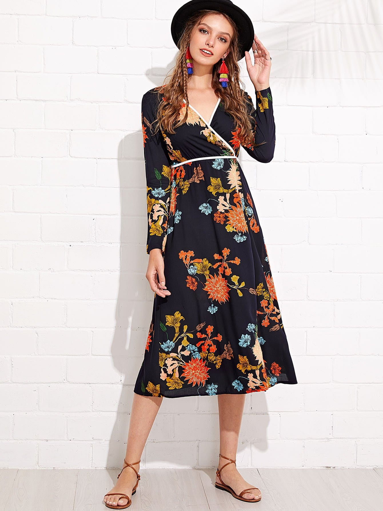 Flower Print Contrast Binding Wrap Dress contrast binding wrap dress