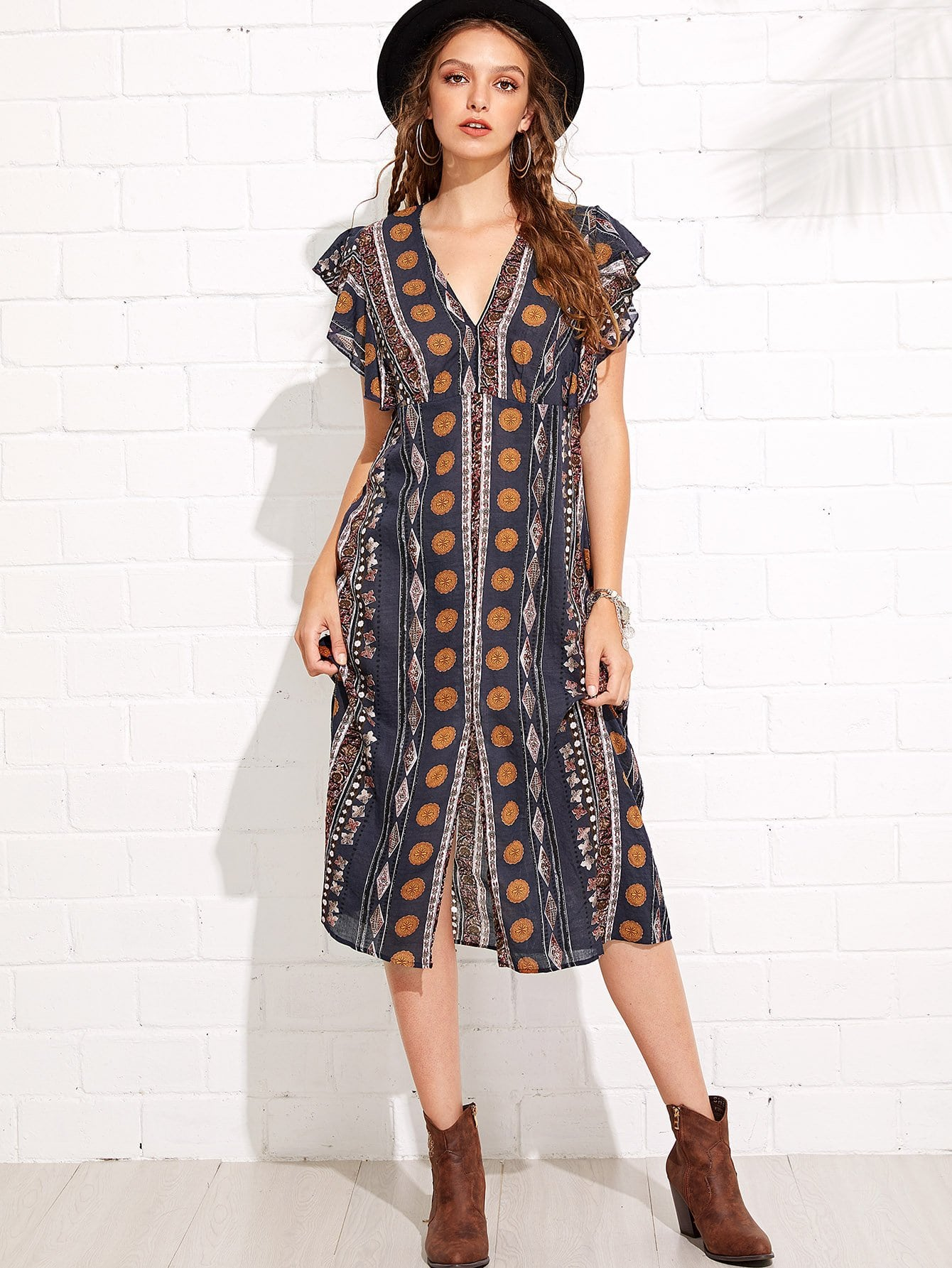Geo Print Ruffle Armhole Belted Dress geo print tunic dress