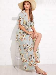 Knot Front Overlap Sleeve Split Floral Dress
