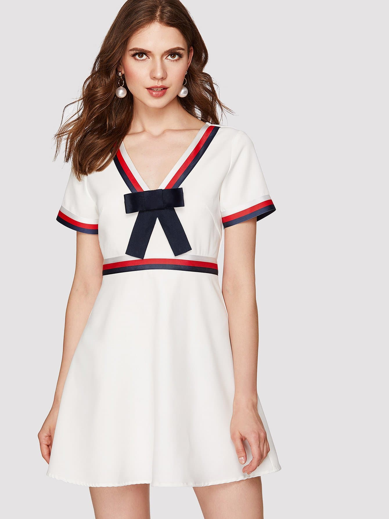 Bow Front Woven Tape Detail Dress striped woven tape detail two tone sweatshirt