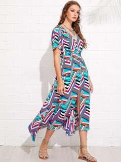 Button Up Shirred Waist Chevron Stripe Dress