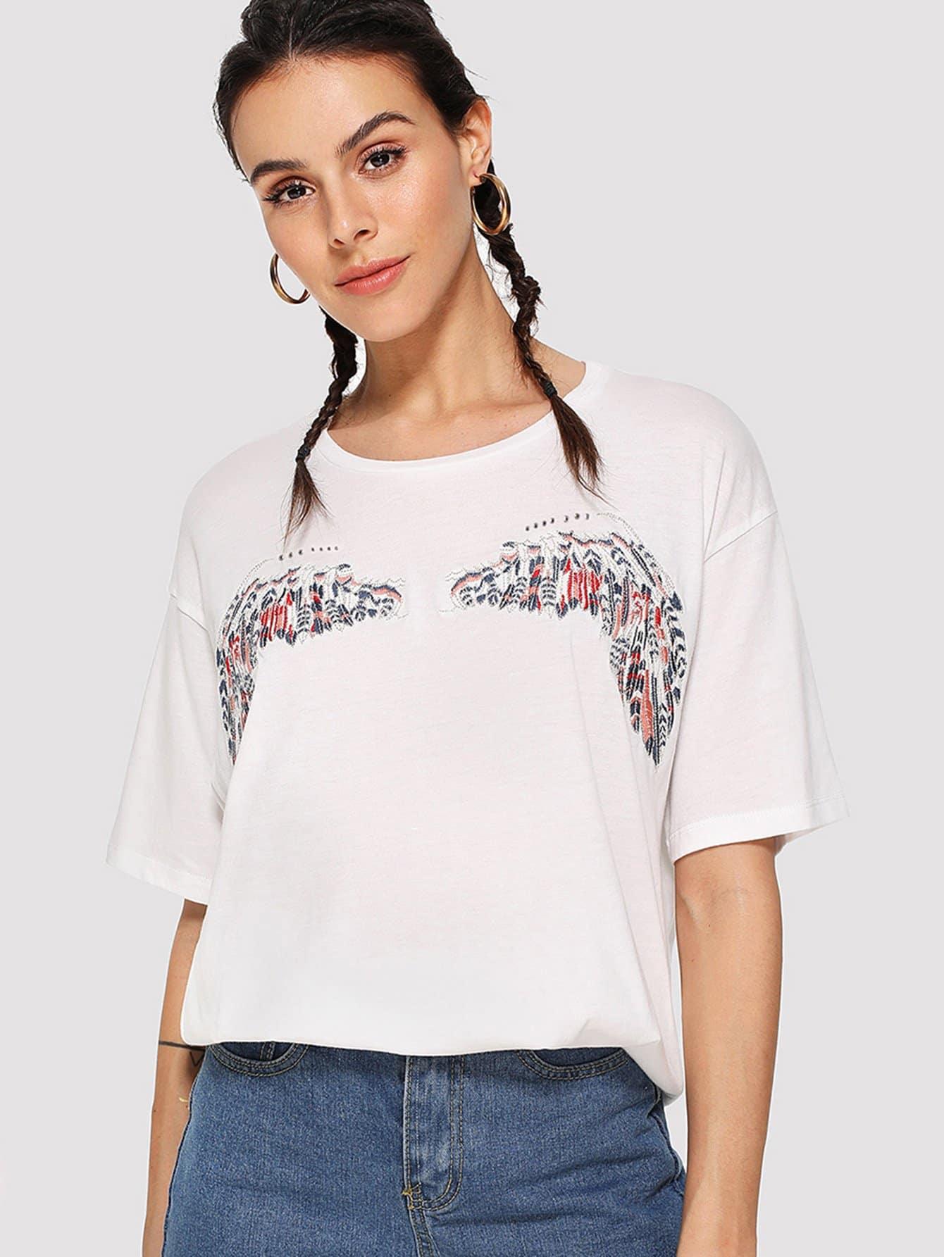 Drop Shoulder Embroidered Wing T-shirt rose embroidered drop shoulder denim shirt