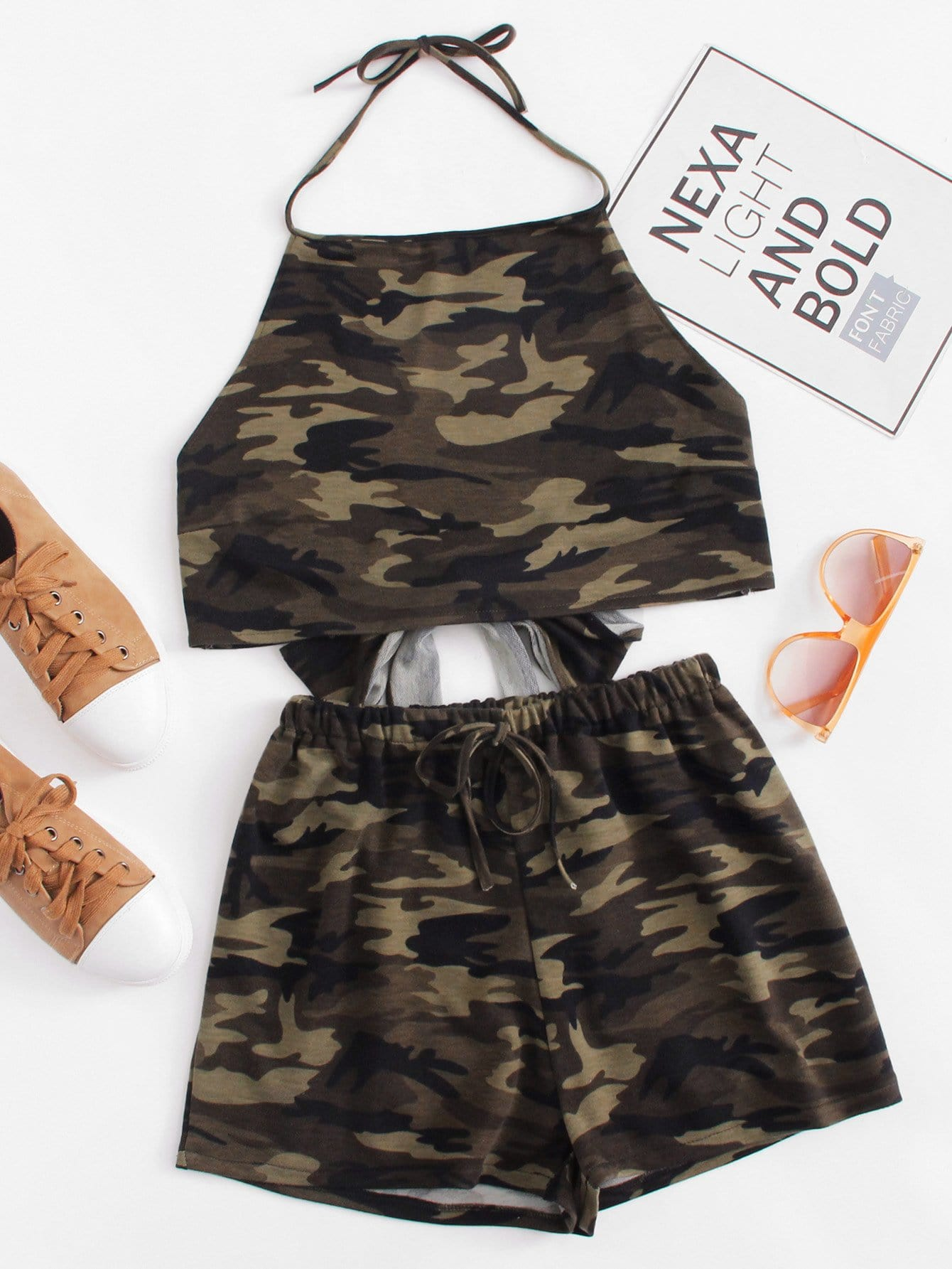 Camouflage Knot Back Halter Top With Shorts asymmetrical hem knot back halter top